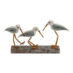 Benzara The Mesmerizing Wood Metal 3 Birds On Stand