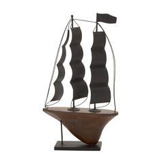 Creative Patterned Metal Wood Sailboat