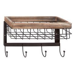Benzara Unique Patterned Wood Metal Wall Basket Hook