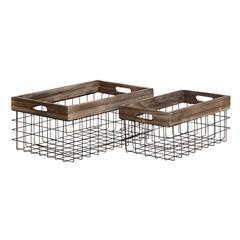 Classy Styled Metal Wood Basket Set Of 2