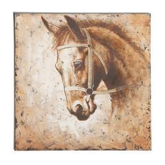 Antique Horse Patterned Canvas Art