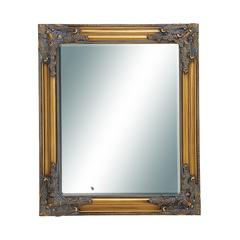 Benzara Wooden Beveled Rectangular Design Mirror In Natural Wood Finish