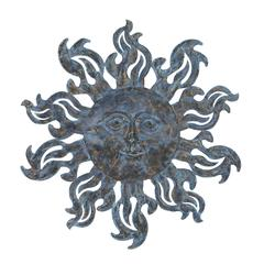 Benzara Metal Sun Wall Décor With Burnished Blue Highlights