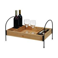Benzara Wood Metal Wine Tray In Elegant Design