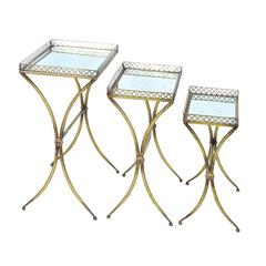Benzara Table With Square Top In Golden Finish - Set Of 3