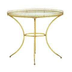 Glass Accent Table In Golden Finish With Vintage Style