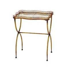 Benzara Metal Tea Table In Deep Golden Shade And Versatile Style