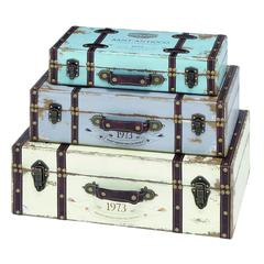 Benzara Trunk With Exceptional Looks & Intrinsic Details - Set Of 3