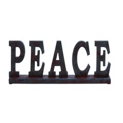 "Benzara Wood Table Top ""Peace"" With Earthly Colors"