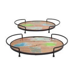 Benzara Vertigos Fancy Multihued Metal Wood Tray