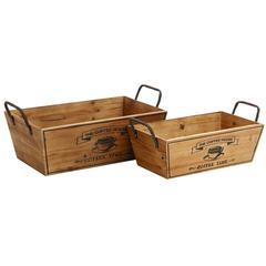 Wooden Metal Handle Set Of 2 Wine Tray