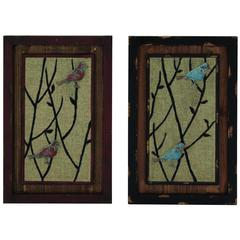 Benzara Elegant Wooden Framed  Set Of Two Metal Wall Décor