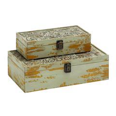 Benzara Elegant Set Of Two Wooden Carved Classy Storage Boxes