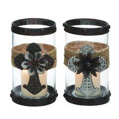 Set Of Two Metal Glass Elegant Jute Candle Holders