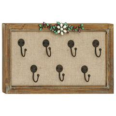 Wooden Frame Unique Floral Art Hook Wall Panel
