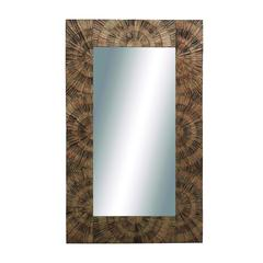 Benzara Wuhu Square Shaped Arty Wooden Wall Mirror