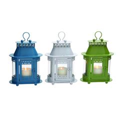Customary Styled Metal Glass Lantern 3 Assorted