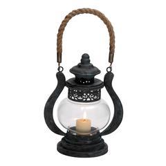 Curvy Zap Black Polished Metal Glass Jute Lantern