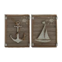"Benzara Marine Wood Metal Wall Decor 2 Assorted 12""W, 16""H"