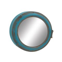 "Round Wood Metal Wall Mirror 24""D"