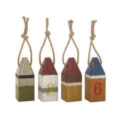 "Benzara Fantastic Wood Table Buoy 4 Assorted 4""W, 10""H"