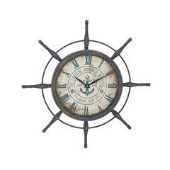 Benzara Attractive Metal Ship Wheel Wall Clock