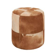 Attractive Wood Leather Brown Round Ottoman