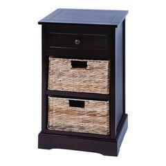 Benzara Modern Cabinet With 2 Wicker Baskets