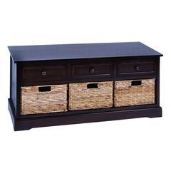 Benzara Modern Cabinet With 3 Wicker Baskets Side By Side
