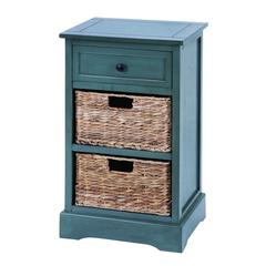Benzara Woodcraft Life Style Cabinet With 2 Wicker Baskets