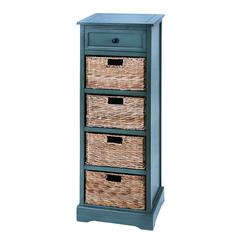 Woodcraft Style Cabinet With 4 Vertical Wicker Baskets