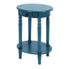 Classic Accent Table With Mahogany Aqua Blue Wood