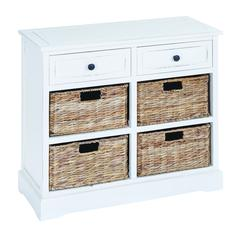 Benzara Basket Cabinet With Fine Detailing In Exclusive White Color