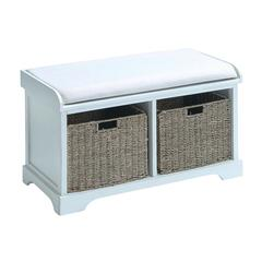 Wood Basket Bench With Huge Storage Capacity In White Color
