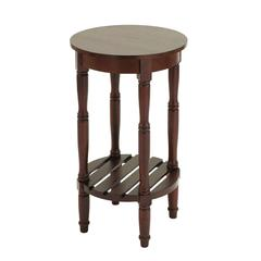 Wood Side Table With Round Surfaces Top & Open Rack Below