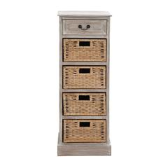 Benzara The Rustic Wood 4 Basket Chest