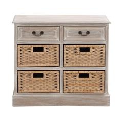 Benzara The Rural Wood 4 Basket Chest