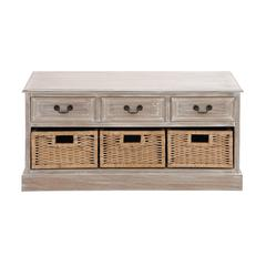 Benzara The Cool Wood 3 Basket Low Chest