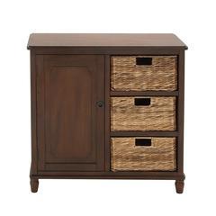 Benzara Multipurpose Stylish And Classy Wood Basket Cabinet