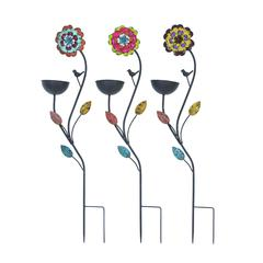 Benzara Bird Feed Stake Assorted In Sunflower Design- Set Of 3