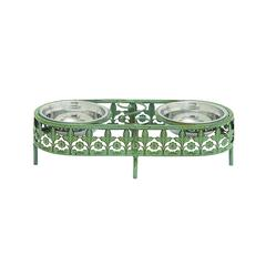 Oval Shaped Metal Frame And Steel Bowl Pet Feeder