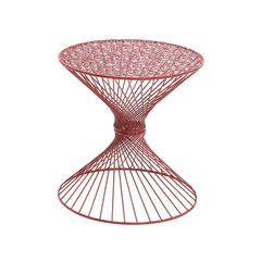 Interesting Styled Metal Red Accent Table