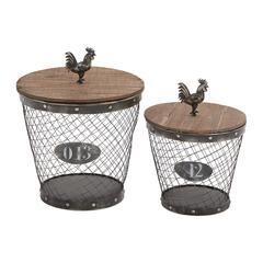 Classy Styled Metal Wood Basket