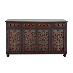 Benzara Antique Themed Wood Glass Cabinet