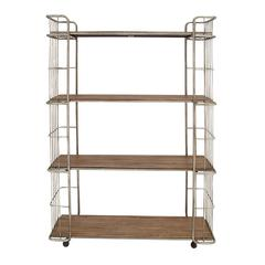 Benzara Modernly Designed Metal Wood Rolling Shelf