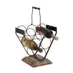 Benzara Creative Styled Stylish Metal Wood Wine Holder