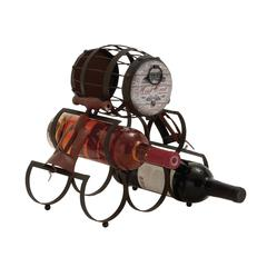 Benzara Unique Barrel Themed Antique Wine Holder