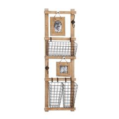 Benzara The Multipurpose Wood Metal Wall Strong Rack