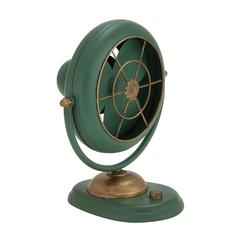 Attractive Styled Green Polished Metal Fan Décor