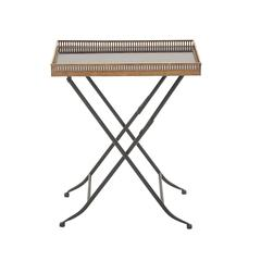 Benzara Unique Styled Metal Marble Tray Table